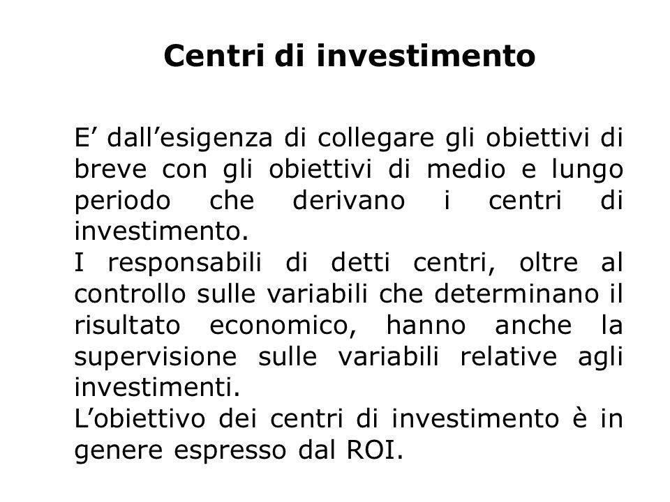 Centri di investimento E dallesigenza di collegare gli obiettivi di breve con gli obiettivi di medio e lungo periodo che derivano i centri di investimento.