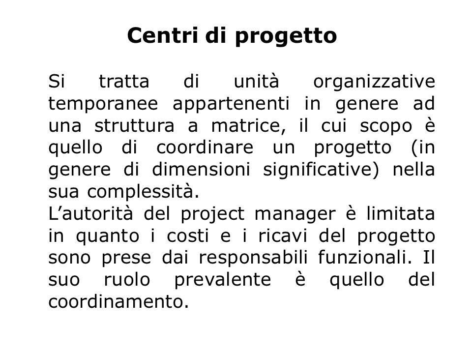 Centri di progetto Si tratta di unità organizzative temporanee appartenenti in genere ad una struttura a matrice, il cui scopo è quello di coordinare un progetto (in genere di dimensioni significative) nella sua complessità.
