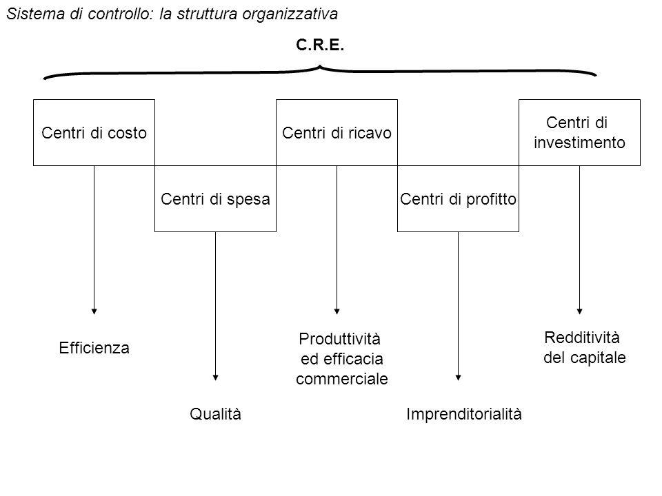 Centri di costo Centri di spesa Centri di ricavo Centri di profitto Centri di investimento Efficienza Qualità Produttività ed efficacia commerciale Imprenditorialità Redditività del capitale Sistema di controllo: la struttura organizzativa C.R.E.