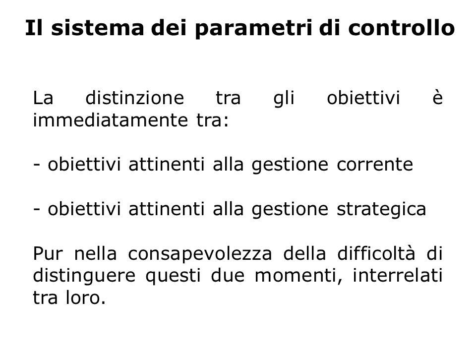 Il sistema dei parametri di controllo La distinzione tra gli obiettivi è immediatamente tra: - obiettivi attinenti alla gestione corrente - obiettivi attinenti alla gestione strategica Pur nella consapevolezza della difficoltà di distinguere questi due momenti, interrelati tra loro.