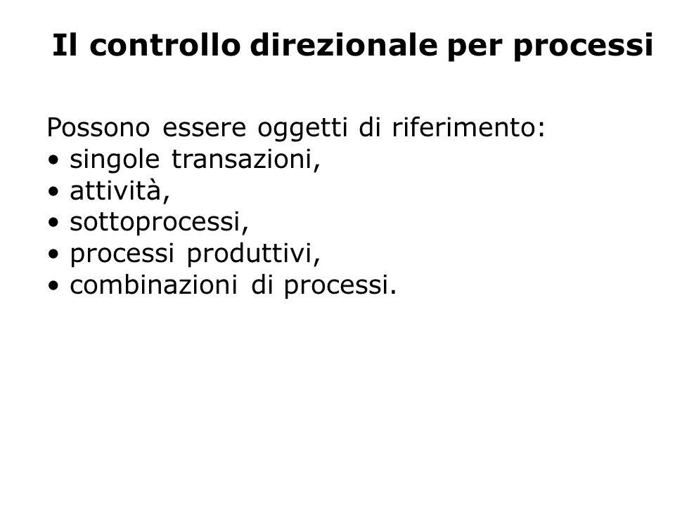 Possono essere oggetti di riferimento: singole transazioni, attività, sottoprocessi, processi produttivi, combinazioni di processi.