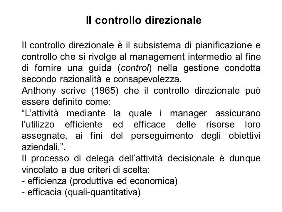 Obiettivi della gestione corrente Esprimono lefficienza e lefficacia di breve periodo.