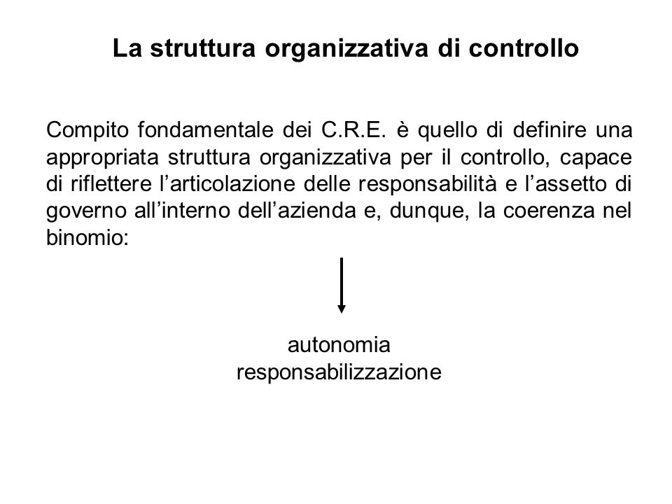 Le grandezze economiche dei CRE Ai fini del controllo direzionale interessa la responsabilità economica, ossia il contributo che ciascun centro può dare alla produzione dei risultati economici dimpresa.
