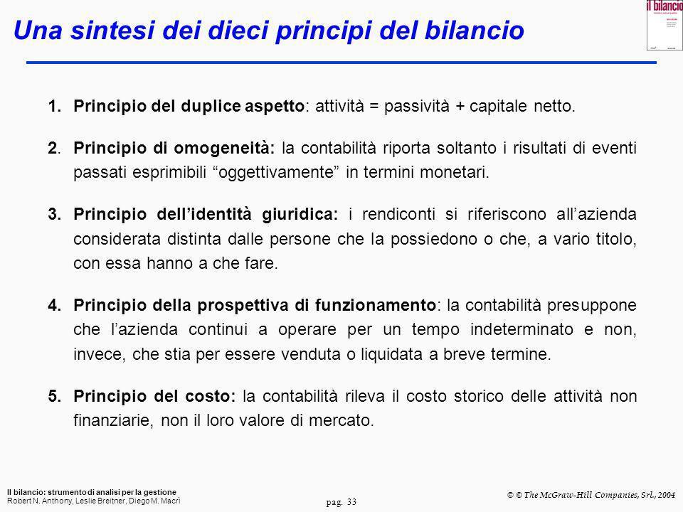 pag. 33 Il bilancio: strumento di analisi per la gestione Robert N. Anthony, Leslie Breitner, Diego M. Macrì © © The McGraw-Hill Companies, Srl., 2004