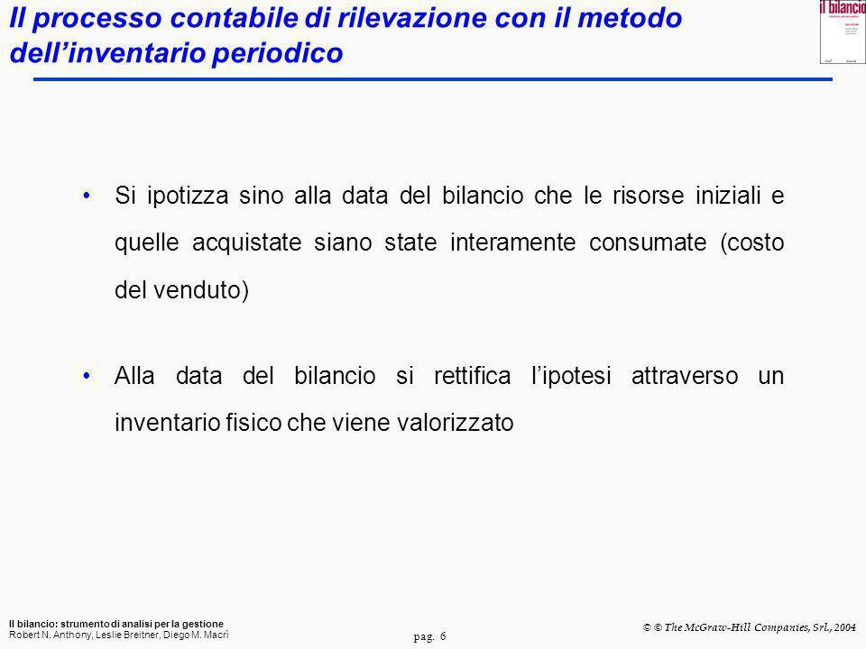 pag. 6 Il bilancio: strumento di analisi per la gestione Robert N. Anthony, Leslie Breitner, Diego M. Macrì © © The McGraw-Hill Companies, Srl., 2004
