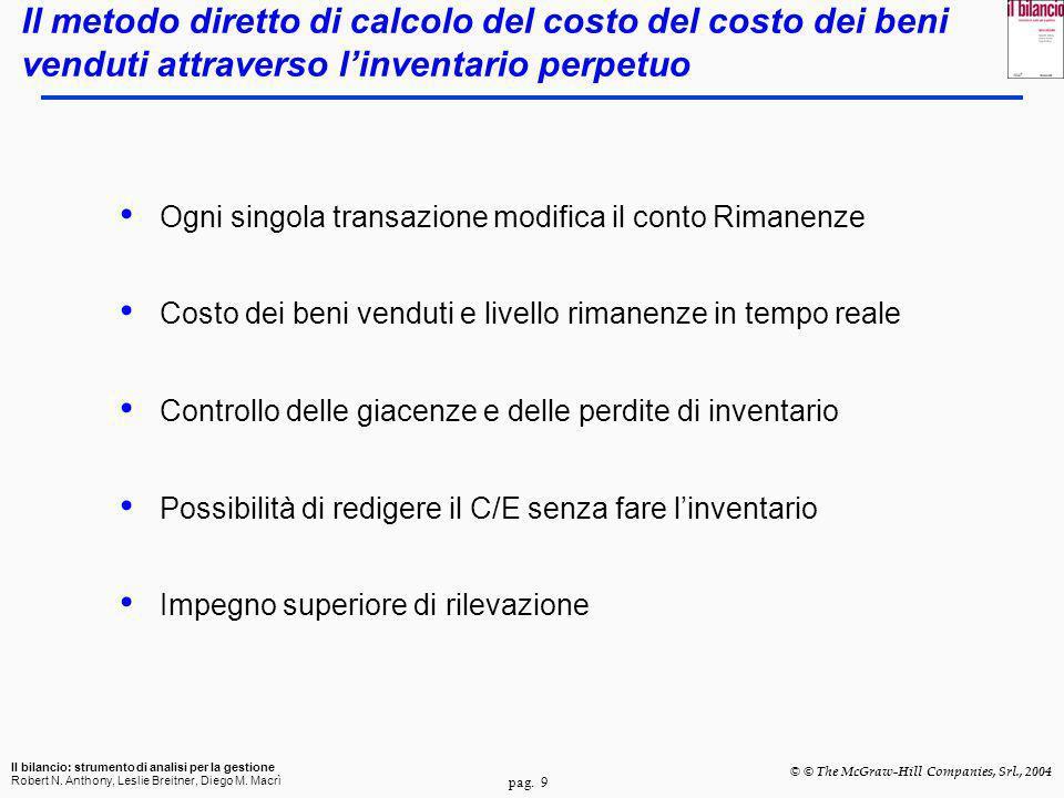 pag. 9 Il bilancio: strumento di analisi per la gestione Robert N. Anthony, Leslie Breitner, Diego M. Macrì © © The McGraw-Hill Companies, Srl., 2004