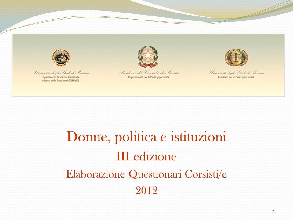 1 Donne, politica e istituzioni III edizione Elaborazione Questionari Corsisti/e 2012