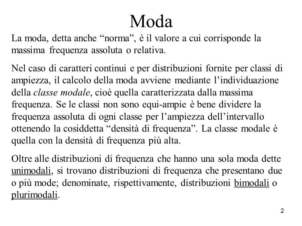 2 Moda La moda, detta anche norma, è il valore a cui corrisponde la massima frequenza assoluta o relativa. Nel caso di caratteri continui e per distri