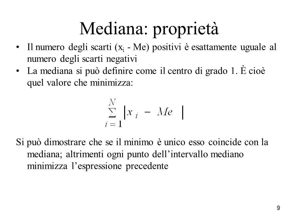 9 Mediana: proprietà Il numero degli scarti (x i - Me) positivi è esattamente uguale al numero degli scarti negativi La mediana si può definire come i