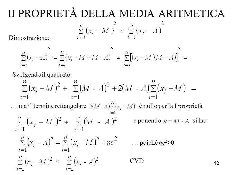 12 II PROPRIETÀ DELLA MEDIA ARITMETICA Dimostrazione: Svolgendo il quadrato: … ma il termine rettangolare è nullo per la I proprietà e ponendo si ha: