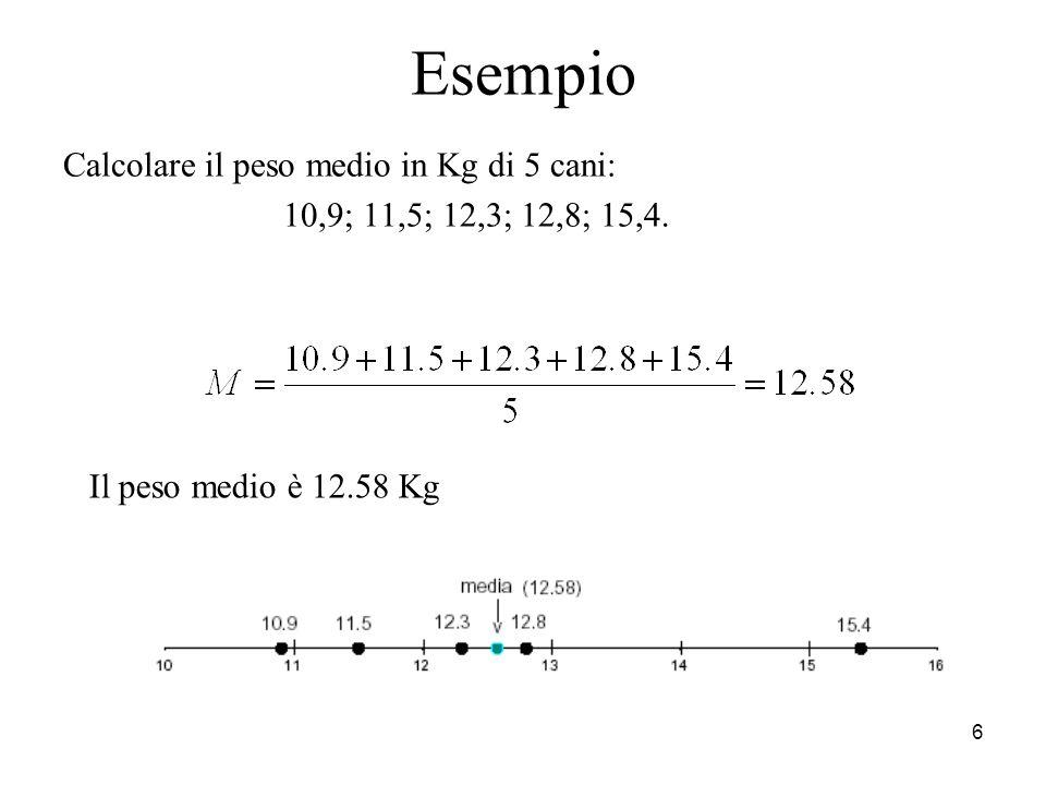 6 Esempio Calcolare il peso medio in Kg di 5 cani: 10,9; 11,5; 12,3; 12,8; 15,4. Il peso medio è 12.58 Kg