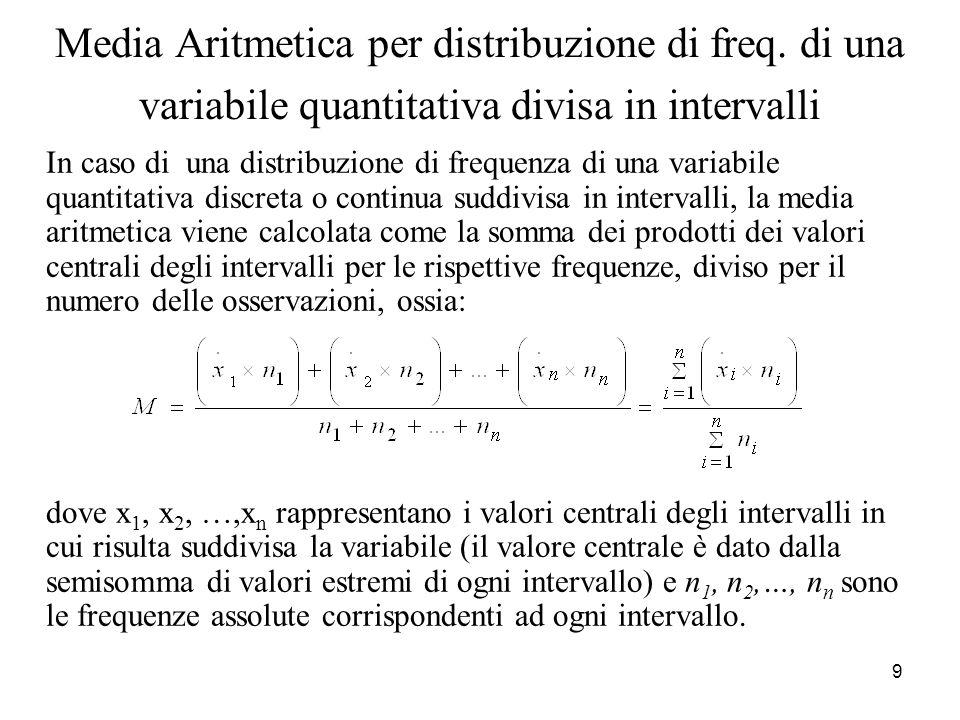 9 Media Aritmetica per distribuzione di freq. di una variabile quantitativa divisa in intervalli In caso di una distribuzione di frequenza di una vari