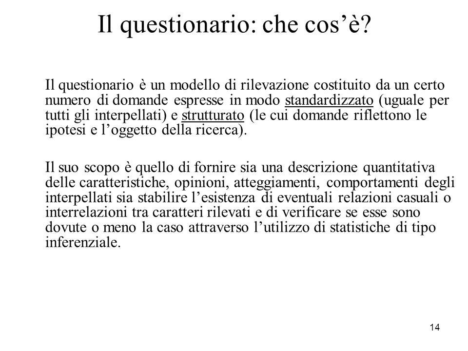 14 Il questionario: che cosè? Il questionario è un modello di rilevazione costituito da un certo numero di domande espresse in modo standardizzato (ug