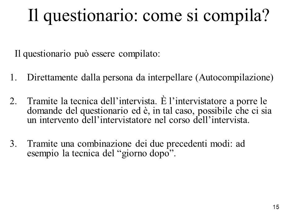 15 Il questionario: come si compila? Il questionario può essere compilato: 1.Direttamente dalla persona da interpellare (Autocompilazione) 2.Tramite l