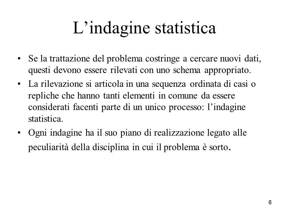 6 Lindagine statistica Se la trattazione del problema costringe a cercare nuovi dati, questi devono essere rilevati con uno schema appropriato. La ril