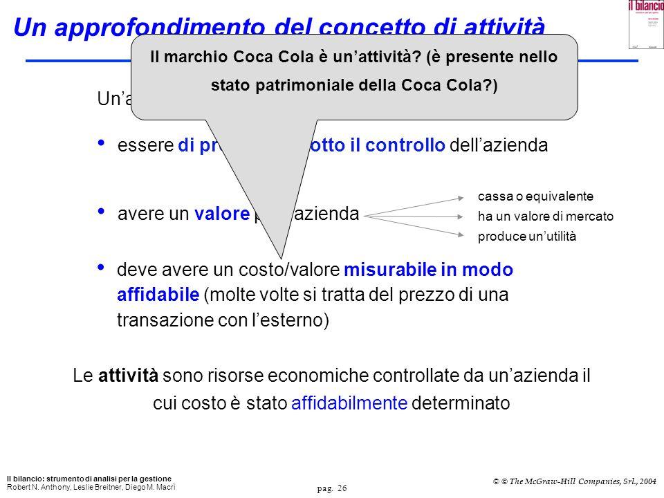pag. 26 Il bilancio: strumento di analisi per la gestione Robert N. Anthony, Leslie Breitner, Diego M. Macrì © © The McGraw-Hill Companies, Srl., 2004