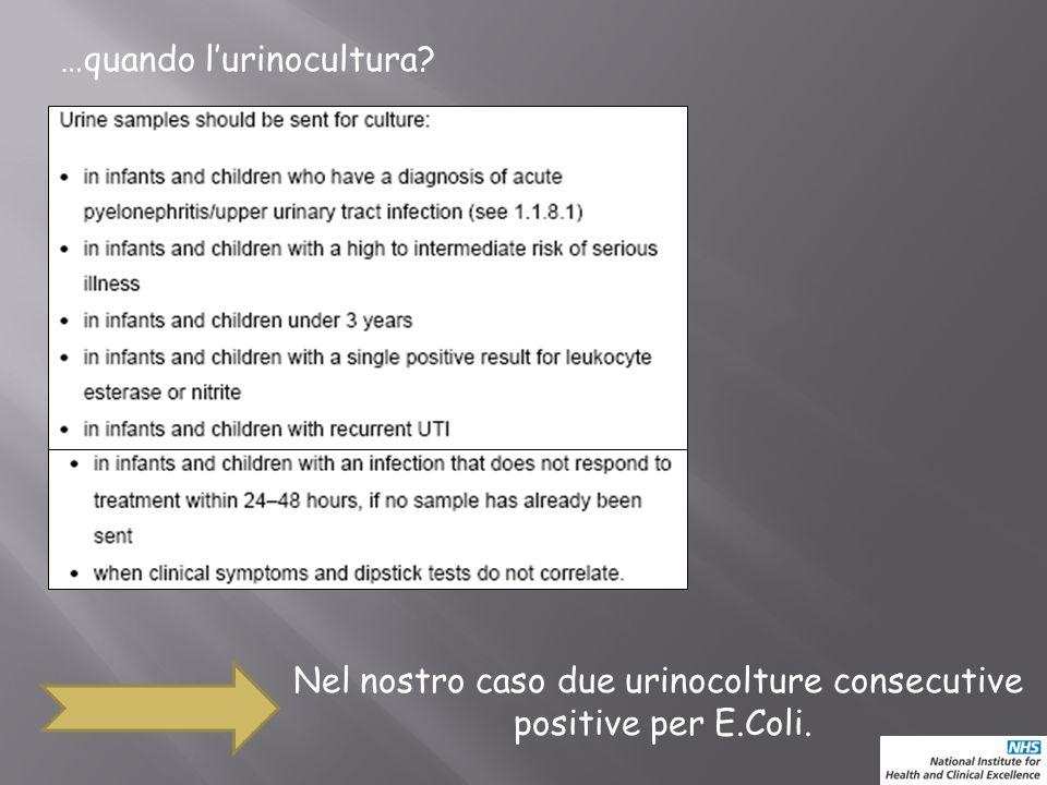 …quando lurinocultura? Nel nostro caso due urinocolture consecutive positive per E.Coli.
