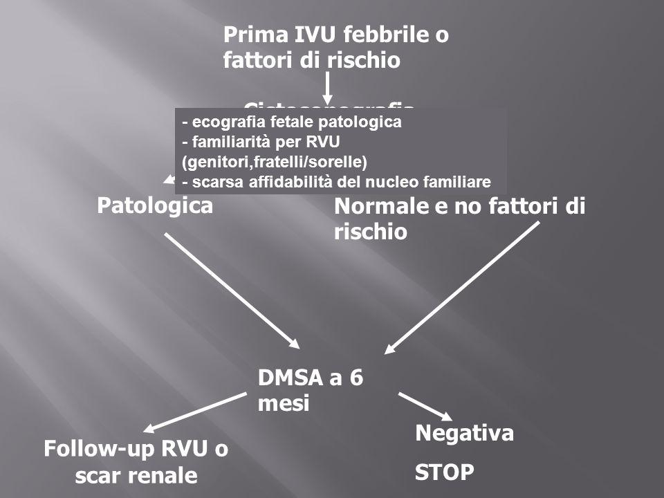 Prima IVU febbrile o fattori di rischio Cistosonografia PatologicaNormale e no fattori di rischio DMSA a 6 mesi Follow-up RVU o scar renale Negativa S