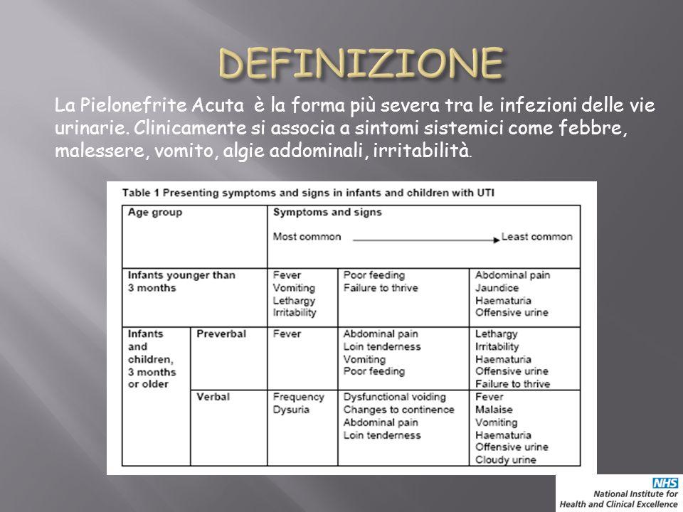 La Pielonefrite Acuta è la forma più severa tra le infezioni delle vie urinarie. Clinicamente si associa a sintomi sistemici come febbre, malessere, v