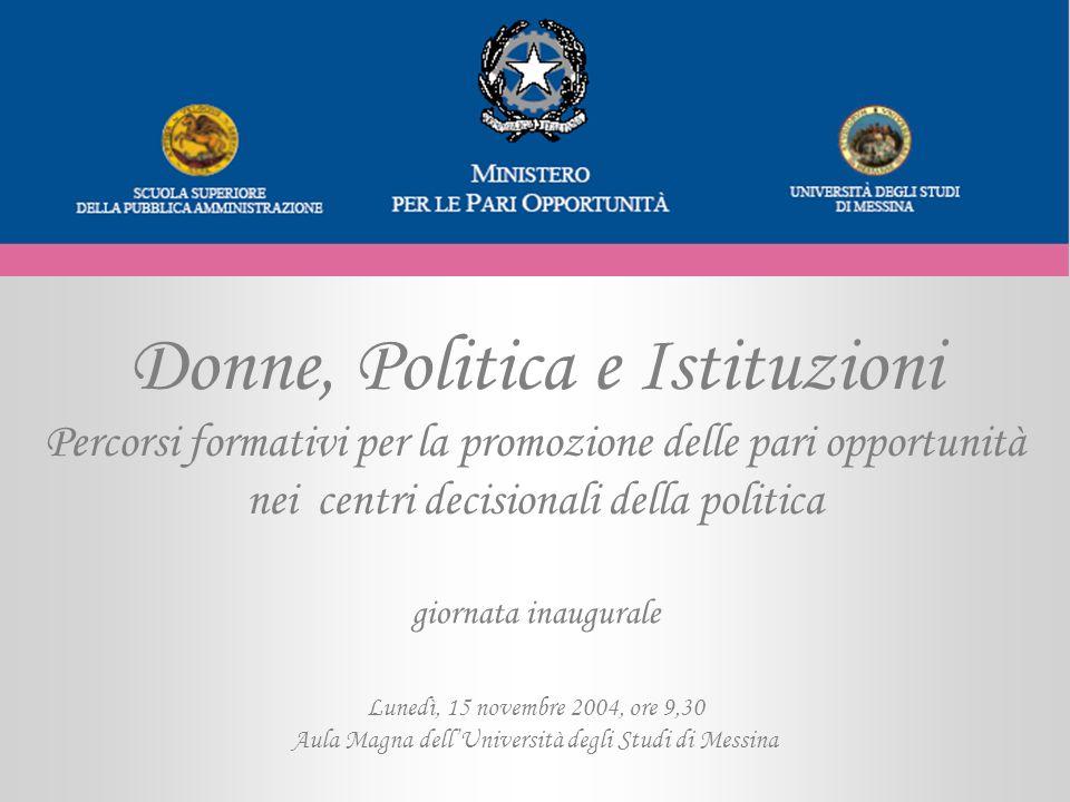 Donne, Politica e Istituzioni Percorsi formativi per la promozione delle pari opportunità nei centri decisionali della politica Lunedì, 15 novembre 20