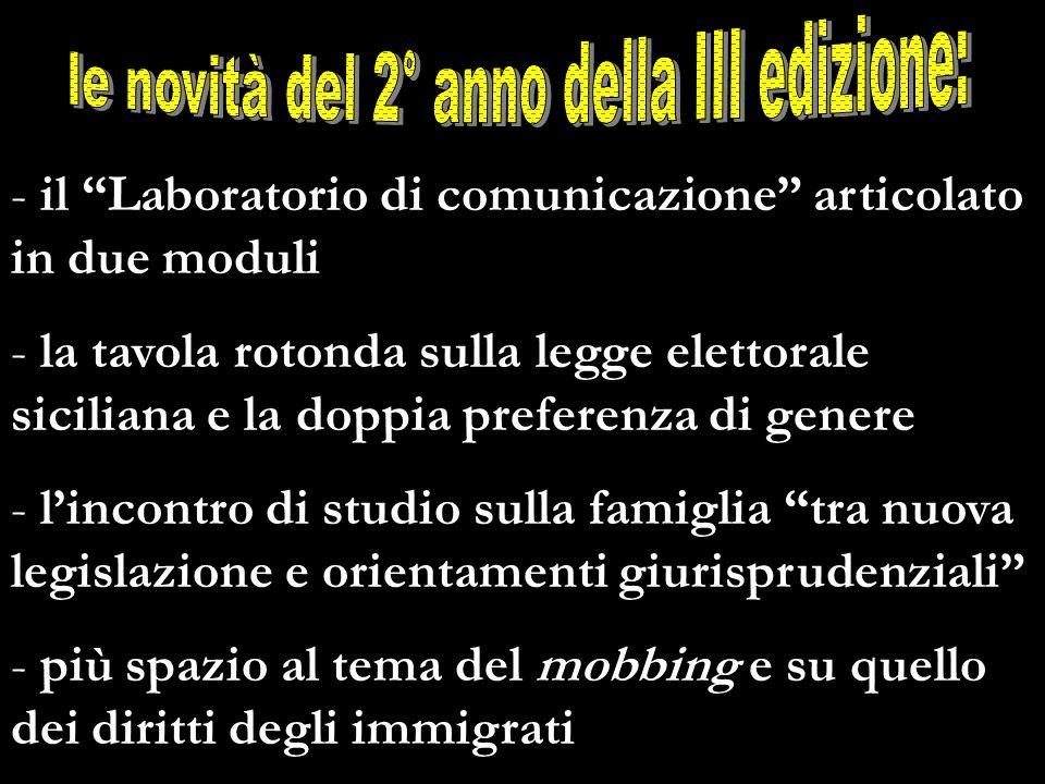 - il Laboratorio di comunicazione articolato in due moduli - la tavola rotonda sulla legge elettorale siciliana e la doppia preferenza di genere - lin