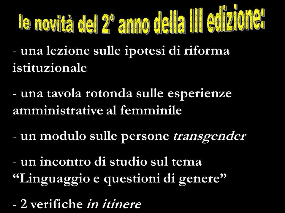 - una lezione sulle ipotesi di riforma istituzionale - una tavola rotonda sulle esperienze amministrative al femminile - un modulo sulle persone trans