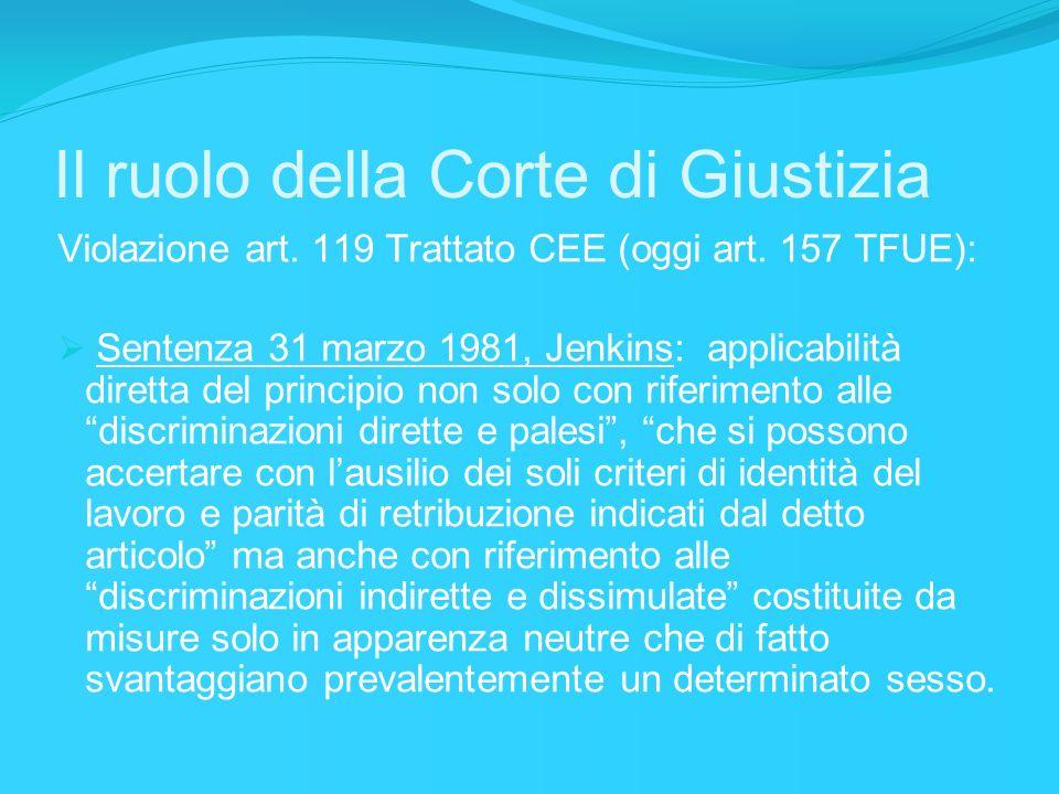 Violazione art. 119 Trattato CEE (oggi art. 157 TFUE): Sentenza 31 marzo 1981, Jenkins: applicabilità diretta del principio non solo con riferimento a