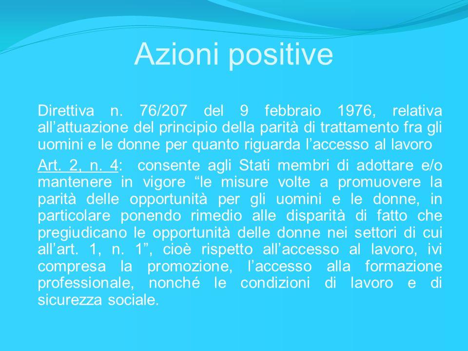 Azioni positive Direttiva n. 76/207 del 9 febbraio 1976, relativa allattuazione del principio della parità di trattamento fra gli uomini e le donne pe