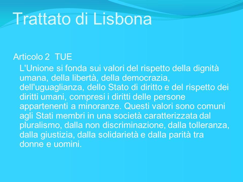 Trattato di Lisbona Articolo 3 TUE (…) L Unione combatte l esclusione sociale e le discriminazioni e promuove la giustizia e la protezione sociali, la parità tra donne e uomini, la solidarietà tra le generazioni e la tutela dei diritti del minore..