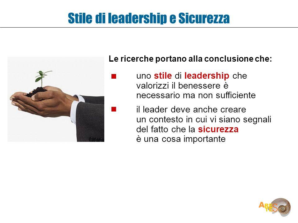 Stile di leadership e Sicurezza uno stile di leadership che valorizzi il benessere è necessario ma non sufficiente il leader deve anche creare un cont