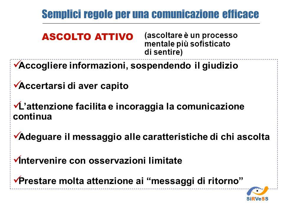(ascoltare è un processo mentale più sofisticato di sentire) Semplici regole per una comunicazione efficace ASCOLTO ATTIVO Accogliere informazioni, so