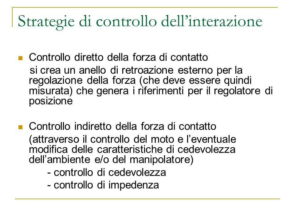 Strategie di controllo dellinterazione Controllo diretto della forza di contatto si crea un anello di retroazione esterno per la regolazione della for