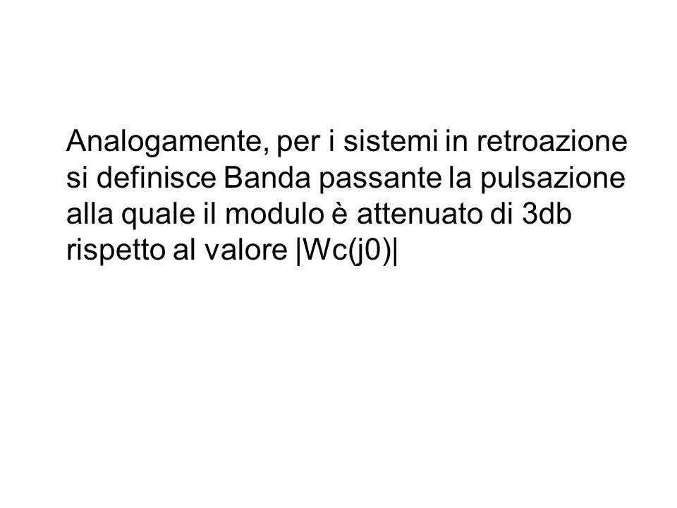 Analogamente, per i sistemi in retroazione si definisce Banda passante la pulsazione alla quale il modulo è attenuato di 3db rispetto al valore |Wc(j0)|