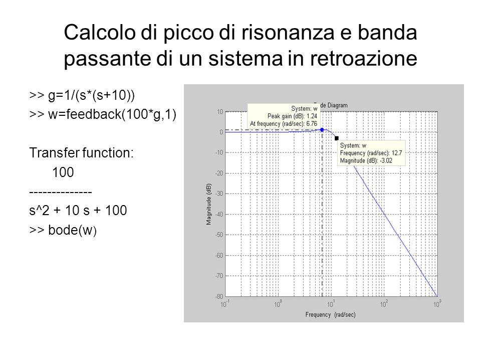 Calcolo di picco di risonanza e banda passante di un sistema in retroazione >> g=1/(s*(s+10)) >> w=feedback(100*g,1) Transfer function: 100 -------------- s^2 + 10 s + 100 >> bode(w )
