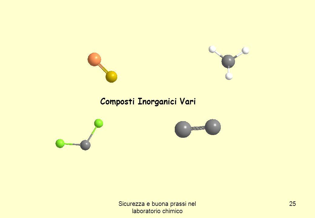 25 Composti Inorganici Vari Sicurezza e buona prassi nel laboratorio chimico