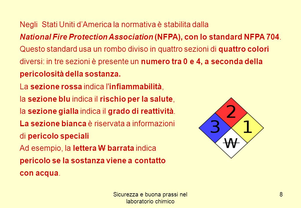 8 Negli Stati Uniti dAmerica la normativa è stabilita dalla National Fire Protection Association (NFPA), con lo standard NFPA 704. Questo standard usa