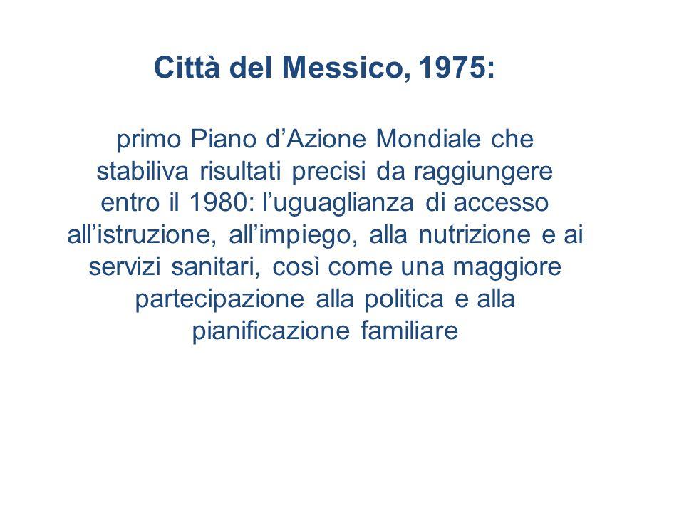 Città del Messico, 1975: primo Piano dAzione Mondiale che stabiliva risultati precisi da raggiungere entro il 1980: luguaglianza di accesso allistruzi