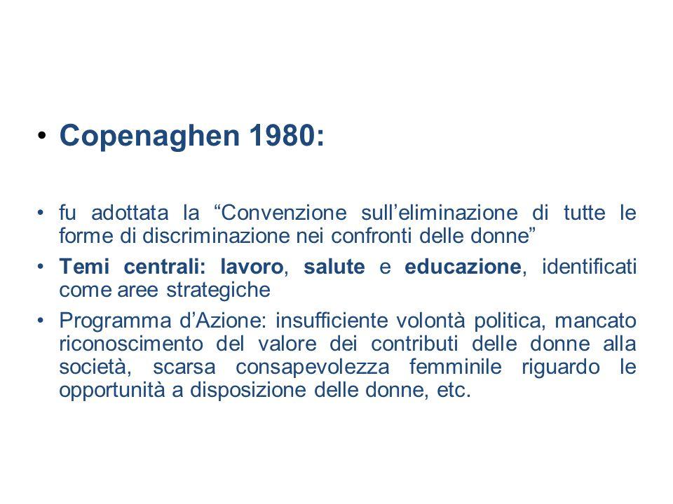 Copenaghen 1980: fu adottata la Convenzione sulleliminazione di tutte le forme di discriminazione nei confronti delle donne Temi centrali: lavoro, sal