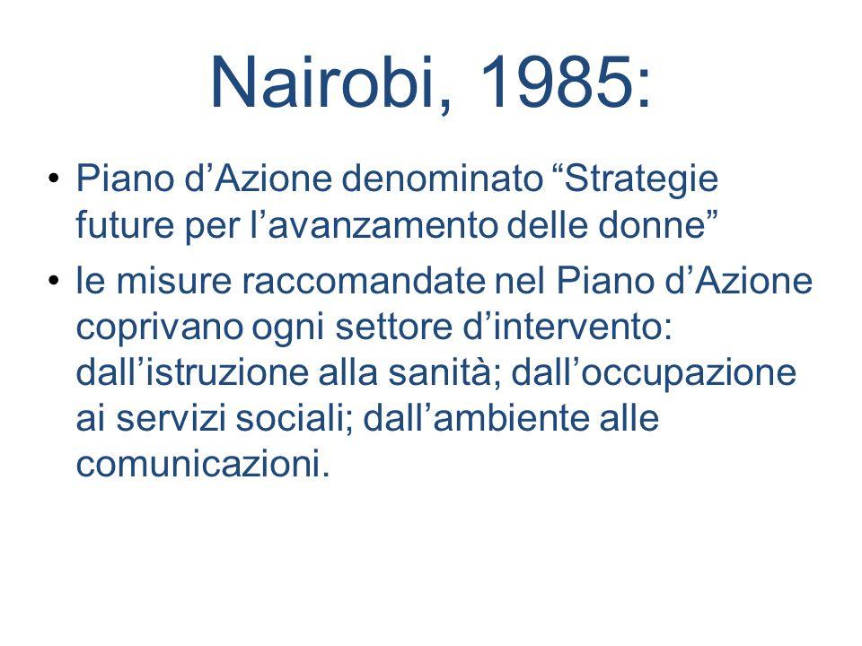 Nairobi, 1985: Piano dAzione denominato Strategie future per lavanzamento delle donne le misure raccomandate nel Piano dAzione coprivano ogni settore
