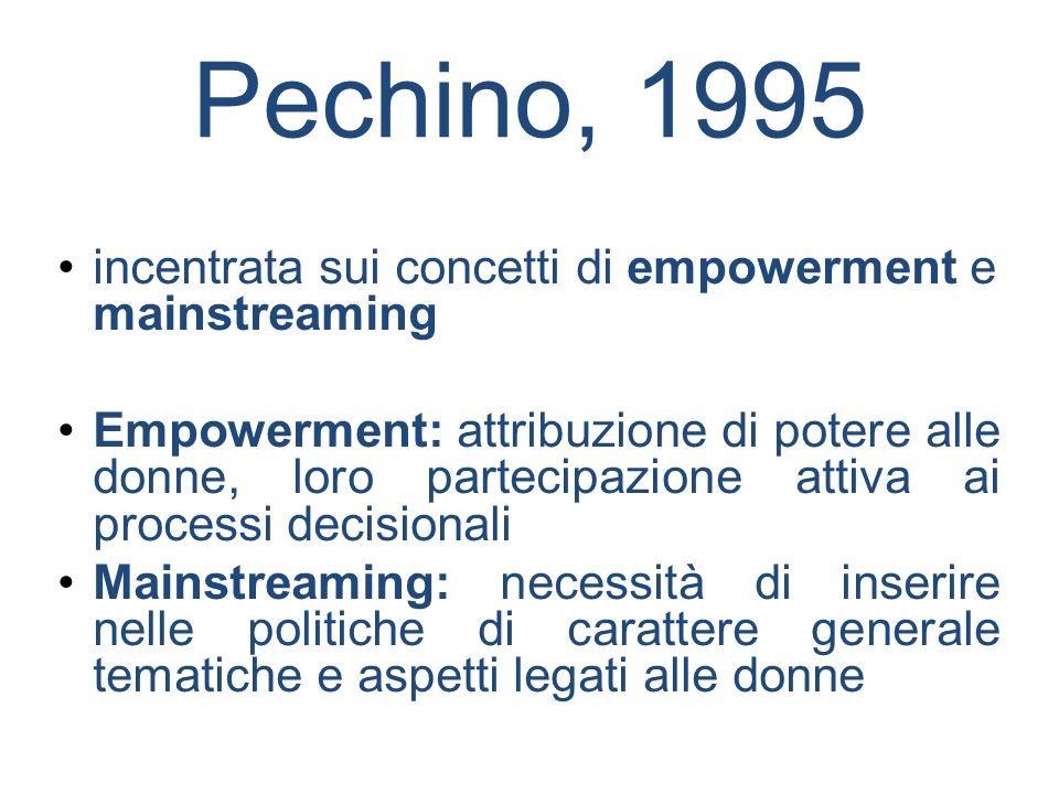 Pechino, 1995 incentrata sui concetti di empowerment e mainstreaming Empowerment: attribuzione di potere alle donne, loro partecipazione attiva ai pro