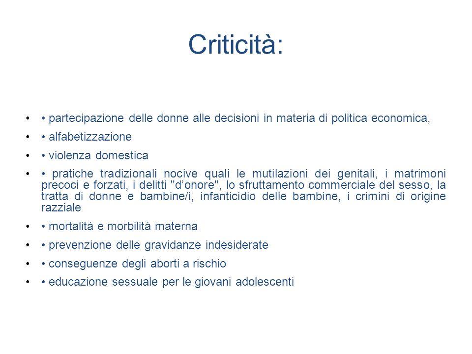 Criticità: partecipazione delle donne alle decisioni in materia di politica economica, alfabetizzazione violenza domestica pratiche tradizionali nociv