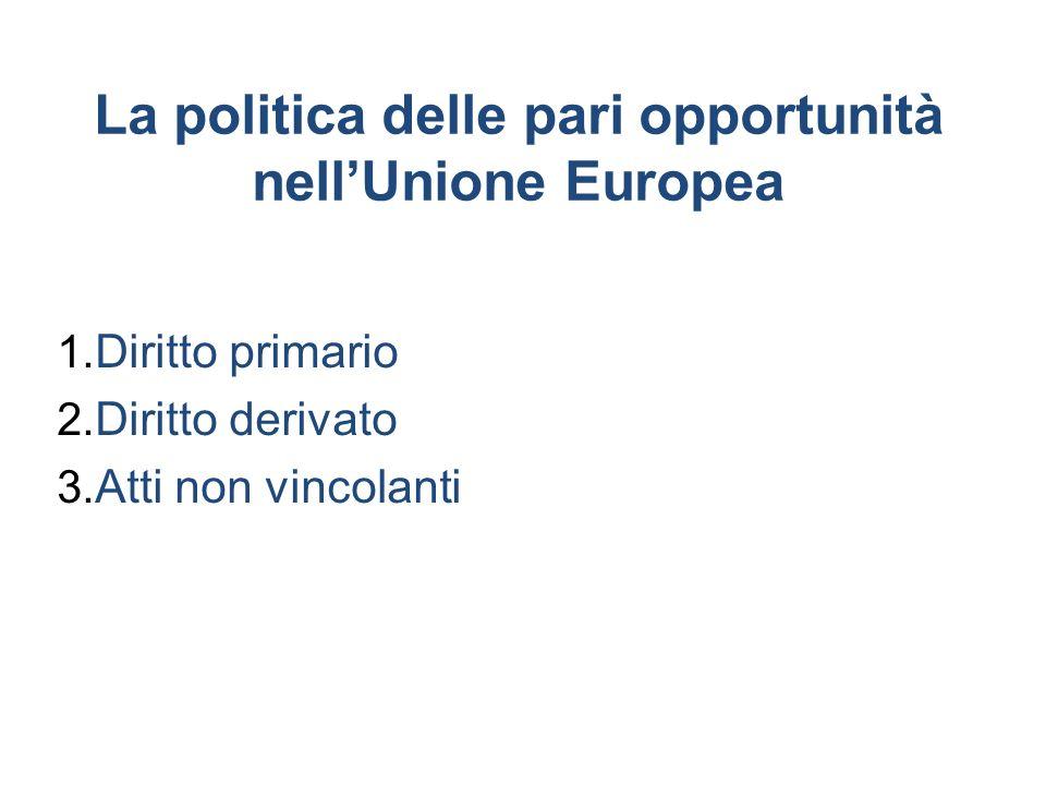 La politica delle pari opportunità nellUnione Europea 1. Diritto primario 2. Diritto derivato 3. Atti non vincolanti