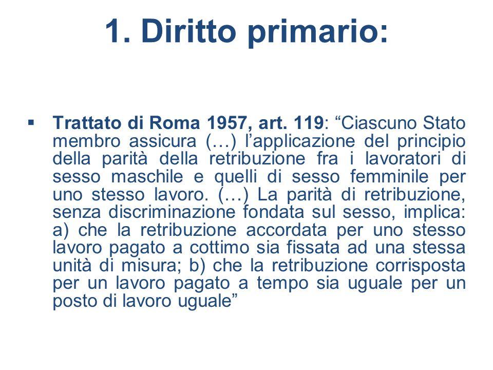 1. Diritto primario: Trattato di Roma 1957, art. 119: Ciascuno Stato membro assicura (…) lapplicazione del principio della parità della retribuzione f