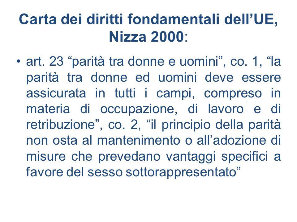 Carta dei diritti fondamentali dellUE, Nizza 2000: art. 23 parità tra donne e uomini, co. 1, la parità tra donne ed uomini deve essere assicurata in t