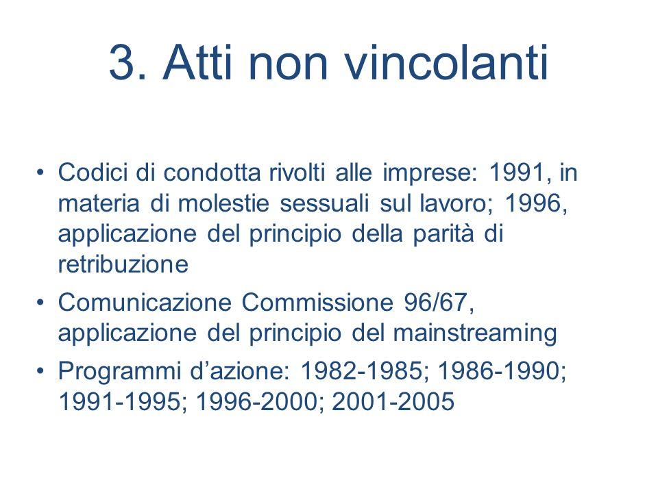 3. Atti non vincolanti Codici di condotta rivolti alle imprese: 1991, in materia di molestie sessuali sul lavoro; 1996, applicazione del principio del