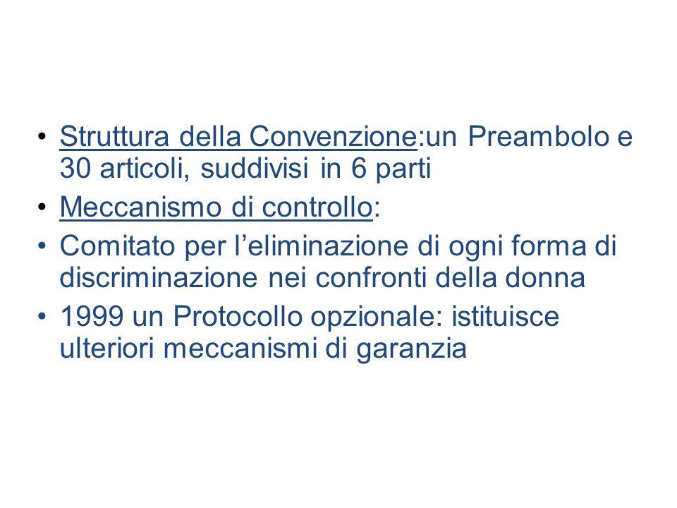 Struttura della Convenzione:un Preambolo e 30 articoli, suddivisi in 6 parti Meccanismo di controllo: Comitato per leliminazione di ogni forma di disc