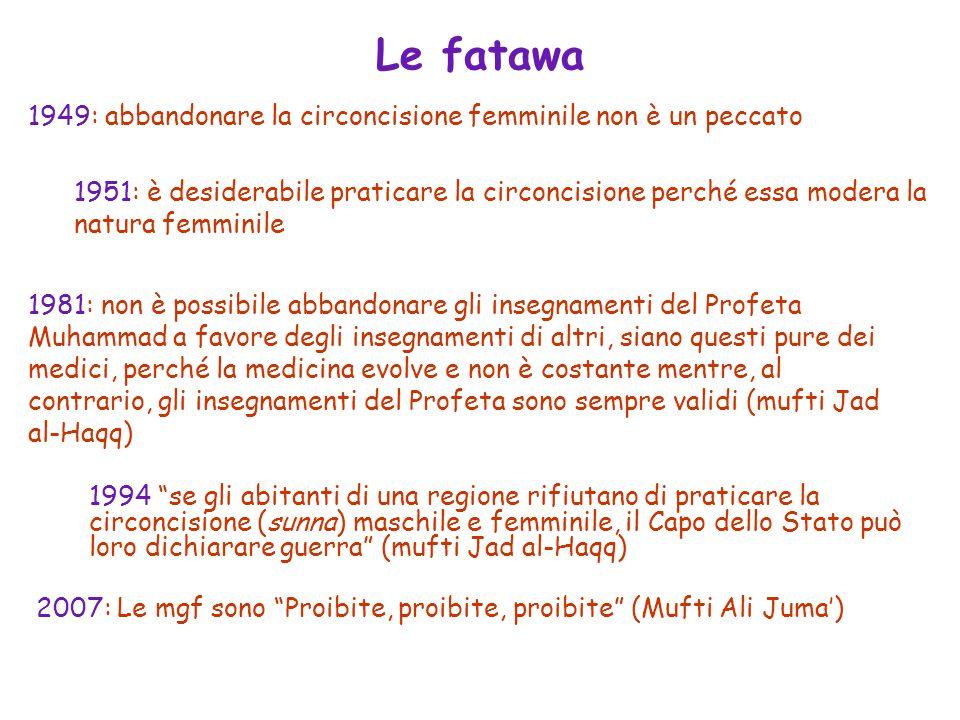 Le fatawa 2007: Le mgf sono Proibite, proibite, proibite (Mufti Ali Juma) 1949: abbandonare la circoncisione femminile non è un peccato 1951: è deside