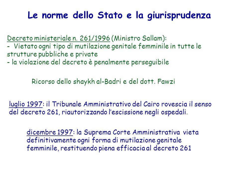 Le norme dello Stato e la giurisprudenza Decreto ministeriale n. 261/1996 (Ministro Sallam): - Vietato ogni tipo di mutilazione genitale femminile in