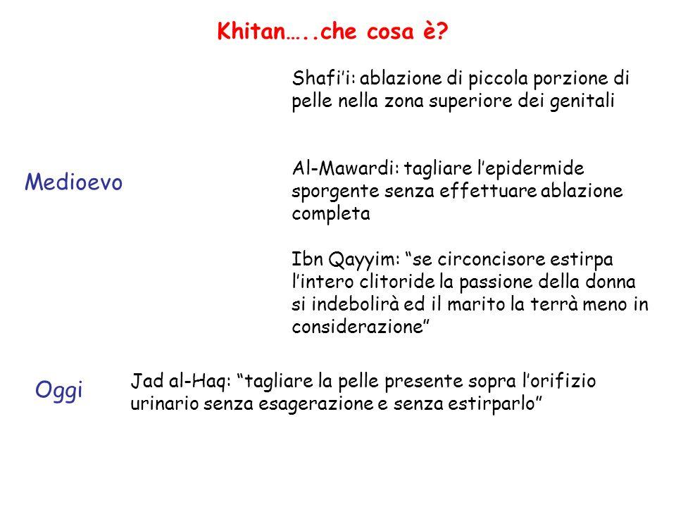 Khitan…..che cosa è? Shafii: ablazione di piccola porzione di pelle nella zona superiore dei genitali Al-Mawardi: tagliare lepidermide sporgente senza