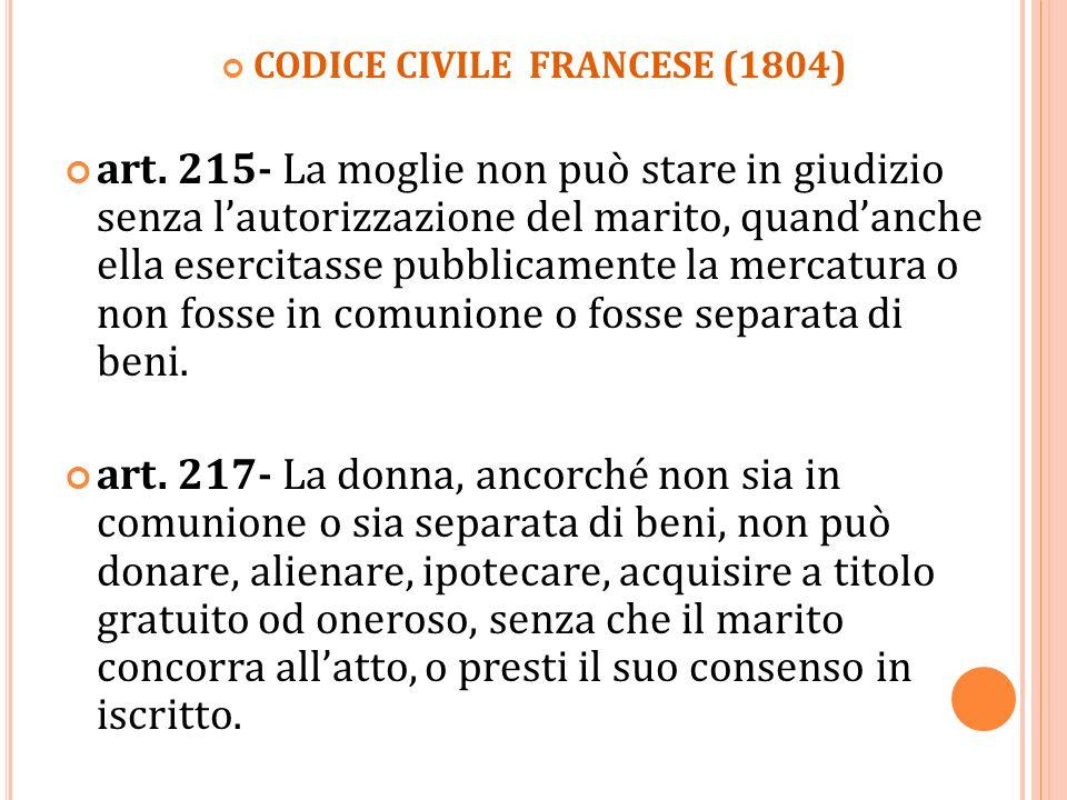 CODICE CIVILE FRANCESE (1804) art. 215- La moglie non può stare in giudizio senza lautorizzazione del marito, quandanche ella esercitasse pubblicament